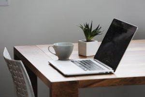 Laptop on desk for online supervision